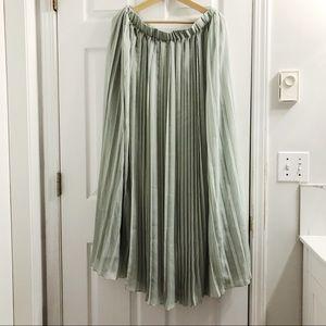 Teal Pleated Maxi Skirt